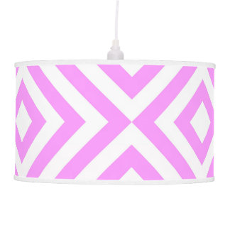 Pink and White Chevrons Hanging Lamp
