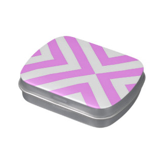 Pink and White Chevrons Jelly Belly Candy Tins