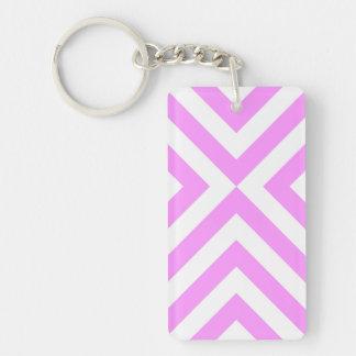 Pink and White Chevrons Keychain