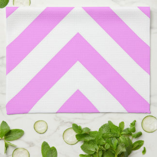 Pink and White Chevrons Kitchen Towel