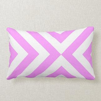 Pink and White Chevrons Lumbar Pillow