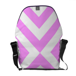 Pink and White Chevrons Messenger Bags