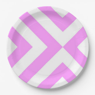 Pink and White Chevrons Paper Plate