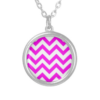 Pink And White Chevrons Round Pendant Necklace