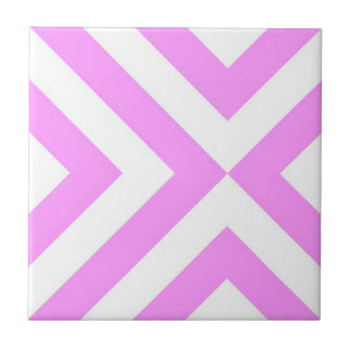 Pink and White Chevrons Small Square Tile