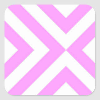 Pink and White Chevrons Square Sticker