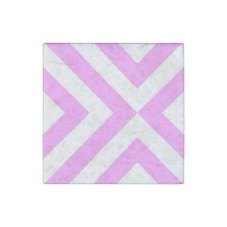 Pink and White Chevrons Stone Magnet