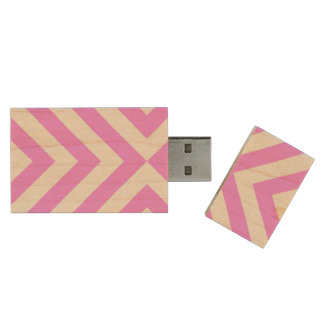 Pink and White Chevrons Wood Flash Drive