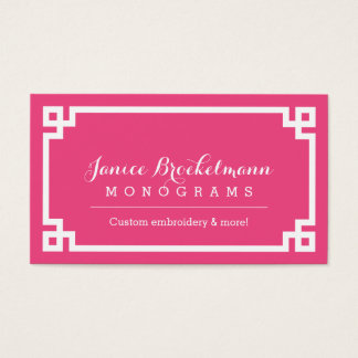 Pink and White Chic Greek Key Border Business Card