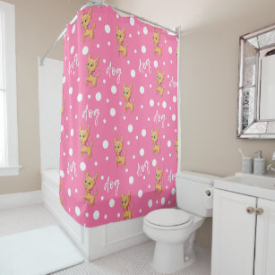 Pink And White Chihuahua Shower Curtain