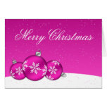 Pink and White Christmas Snowflake Ornaments Cards
