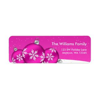 Pink and White Christmas Snowflake Ornaments Custom Return Address Label