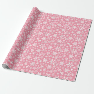 Pink and White Christmas Winter Snowflakes Pattern Wrapping Paper