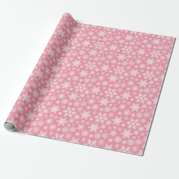 Christmas Themed Pink and White Christmas Winter Snowflakes Pattern Wrapping Paper