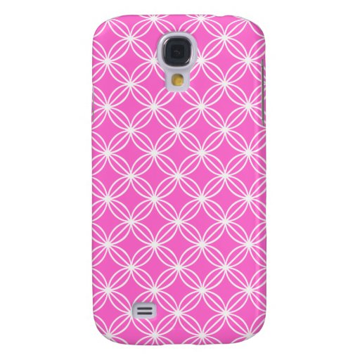 Pink and White Circular Floral Links Samsung Galaxy S4 Covers