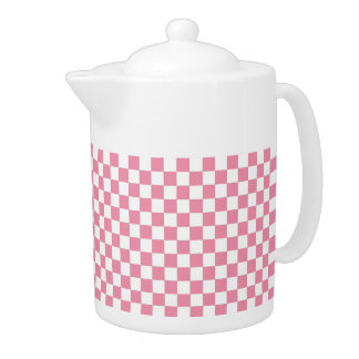 Pink And White Classic Retro Checkered Pattern Teapot
