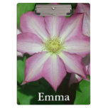 Pink and White Clematis Spring Flower Clipboard