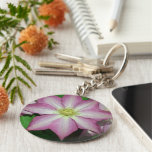 Pink and White Clematis Spring Flower Keychain