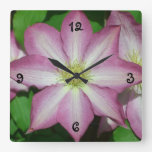 Pink and White Clematis Spring Flower Square Wall Clock