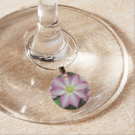 Pink and White Clematis Spring Flower Wine Charm