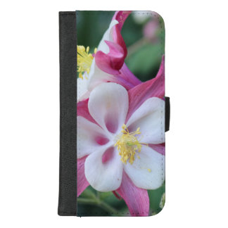 PINK AND WHITE COLUMBINE FLOWER IPHONE WALLET CASE