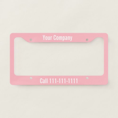 Pink and White Company Ad with Phone Number License Plate Frame