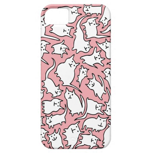 Pink and White Crazy Cats iPhone 5 Case