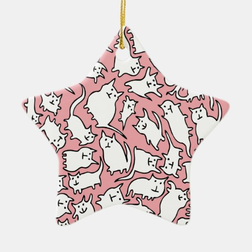 Pink and White Crazy Cats Ornament (Star)