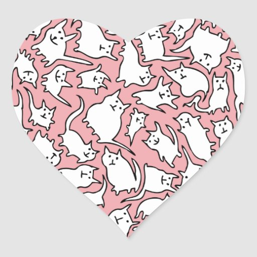 Pink and White Crazy Cats Stickers (Heart)