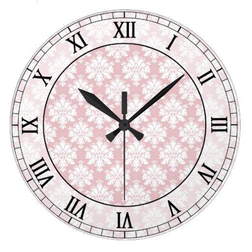 pink and white cream damask roman numerals round wallclock