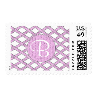 Pink and white crisscross monogram stamps
