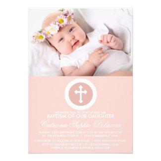 Pink and White Cross Baptism Photo Invitation