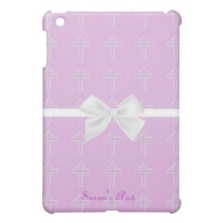Pink and White Cross iPad Mini Case