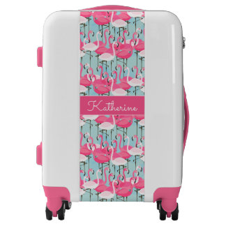 Pink And White Crowd Of Flamingos | Add Your Name Luggage