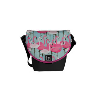 Pink And White Crowd Of Flamingos Courier Bag