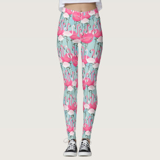Pink And White Crowd Of Flamingos Leggings