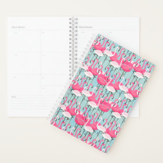 Pink And White Crowd Of Flamingos Planner