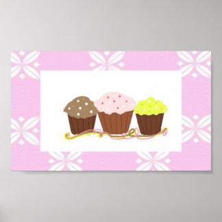Pink and White Cupcake Design Print