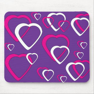 Pink and White Cut out Heart Mousepad