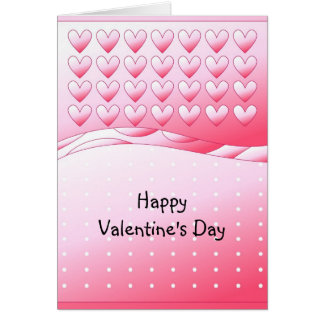 Pink and white cute hearts and dots card