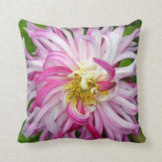 Pink and white dahlia flower throw pillow
