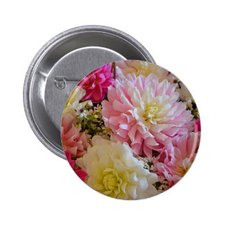 Pink and white dahlia flowers button