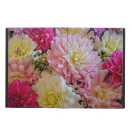 Pink and white dahlia flowers print iPad air case