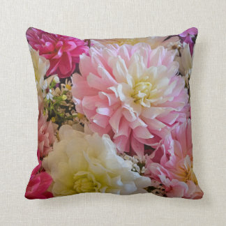 Pink and white dahlia flowers throw pillow