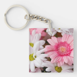 Pink and White Daisies Keychain