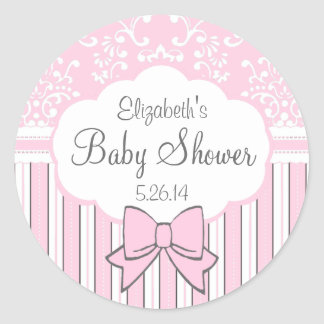 Pink and White Damask Baby Shower Classic Round Sticker