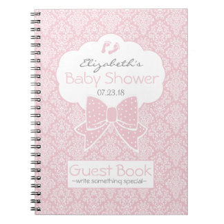 Pink and White Damask Baby Shower Guest Book Notebook