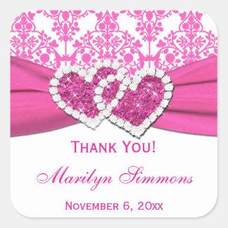 Pink and White Damask Bridal Shower Sticker