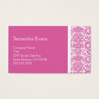 Pink and White Damask Business Card
