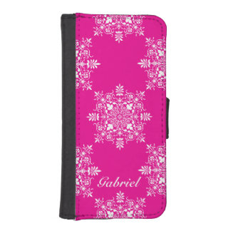 Pink and White Damask Design iPhone SE/5/5s Wallet Case